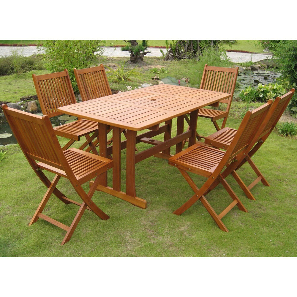 Teak outdoor dining set 7 piece table chairs folding wood for Poolside table and chairs