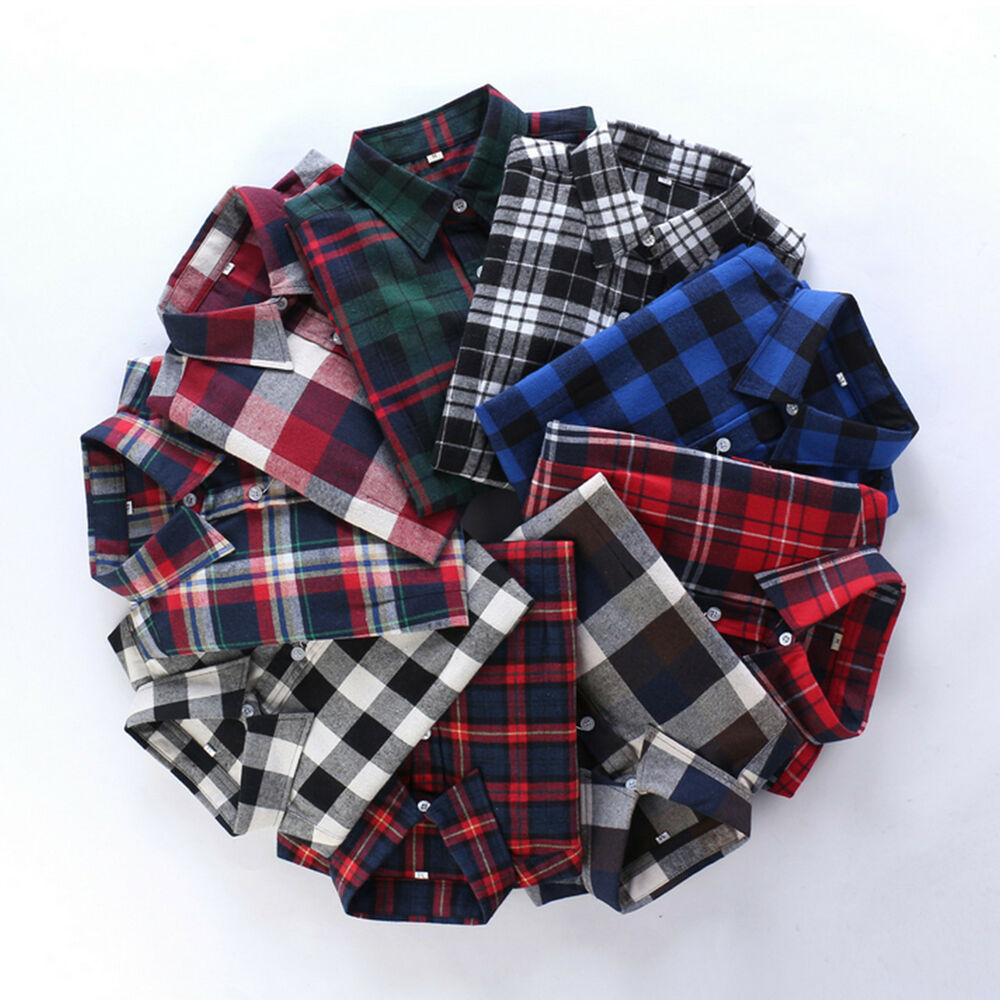 Womens campus plaid check shirt long sleeve flannel button for Buy plaid shirts online