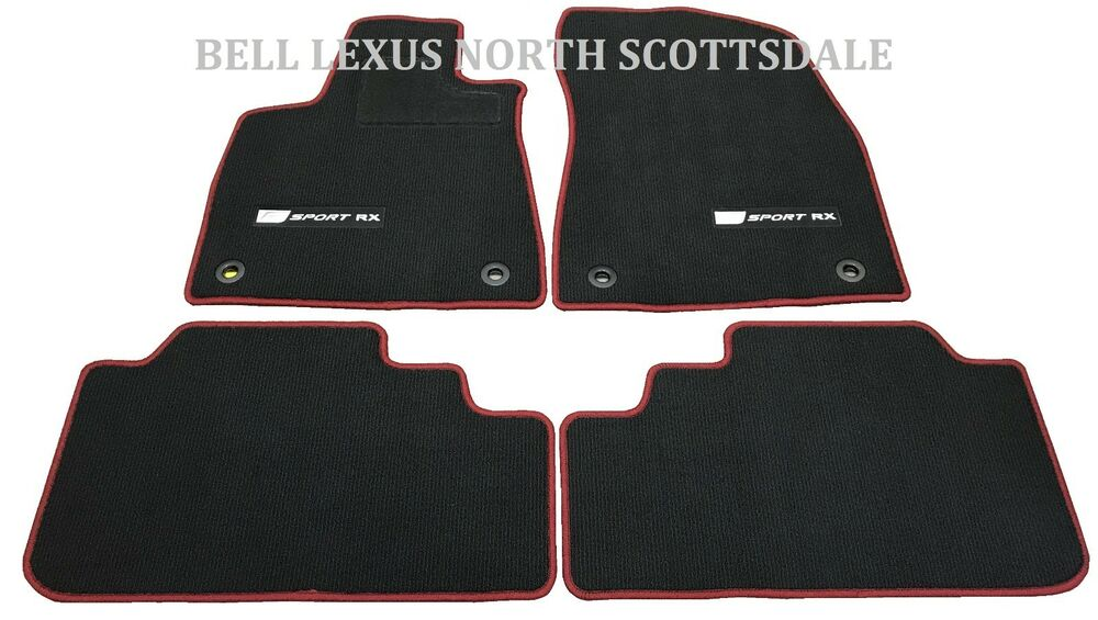lexus oem factory f sport floor mat set 2016 2017 rx350 rx450h black and red ebay. Black Bedroom Furniture Sets. Home Design Ideas