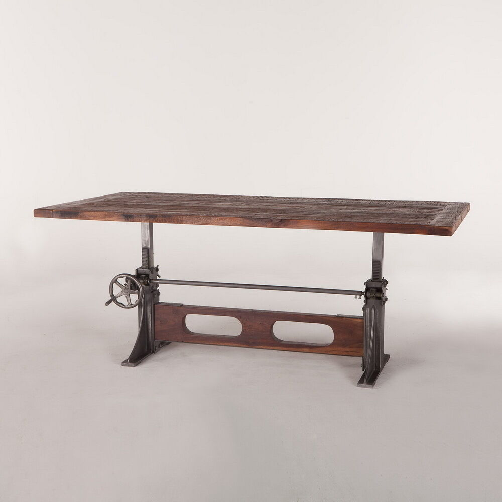 84 L Crank Dining Table Industrial Design Old Wood Top