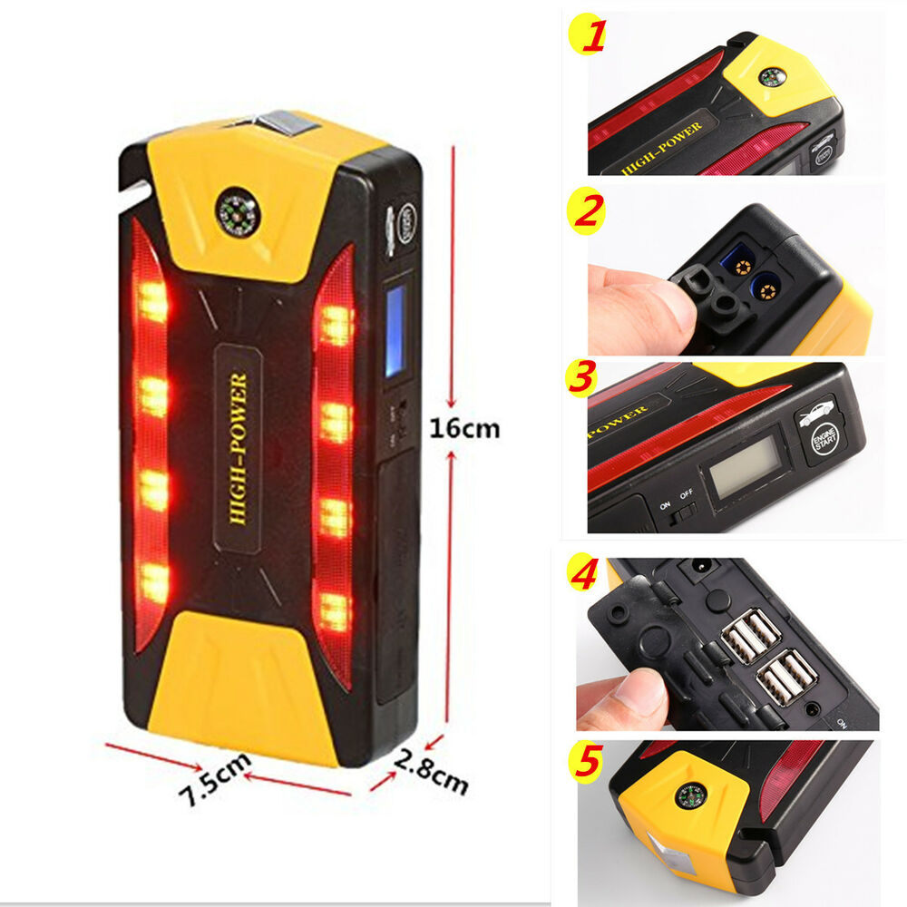 82800mah portable car jump starter pack booster battery charger 4 usb power bank ebay. Black Bedroom Furniture Sets. Home Design Ideas