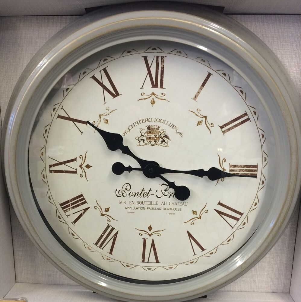 Large Distressed Grey Gold Metal French Station Clock New