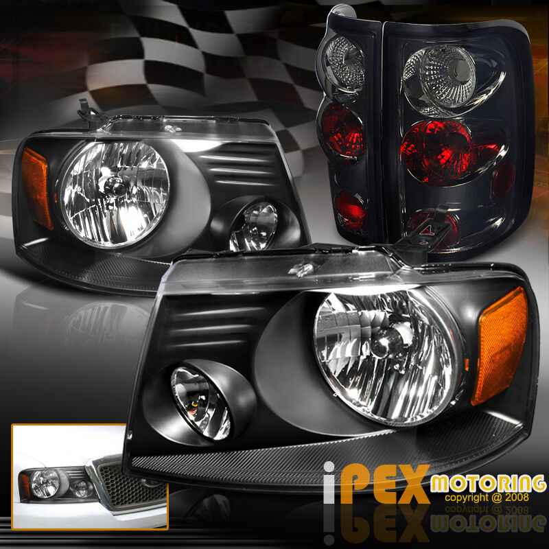 new 2004 2008 ford f150 f 150 black headlights smoke. Black Bedroom Furniture Sets. Home Design Ideas