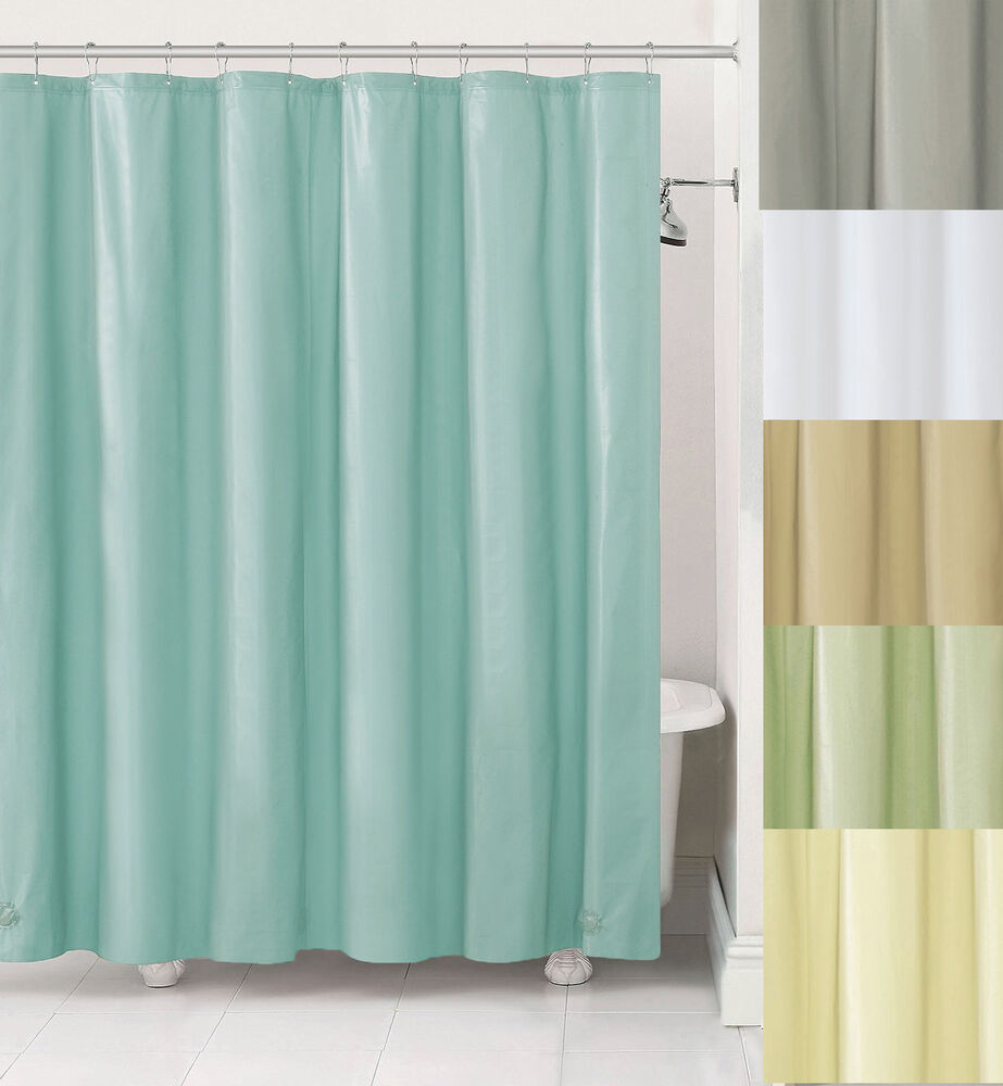 Fabric Shower Curtain Liner W Metal Grommets Blue Gray Ivory Sage Taupe Whi