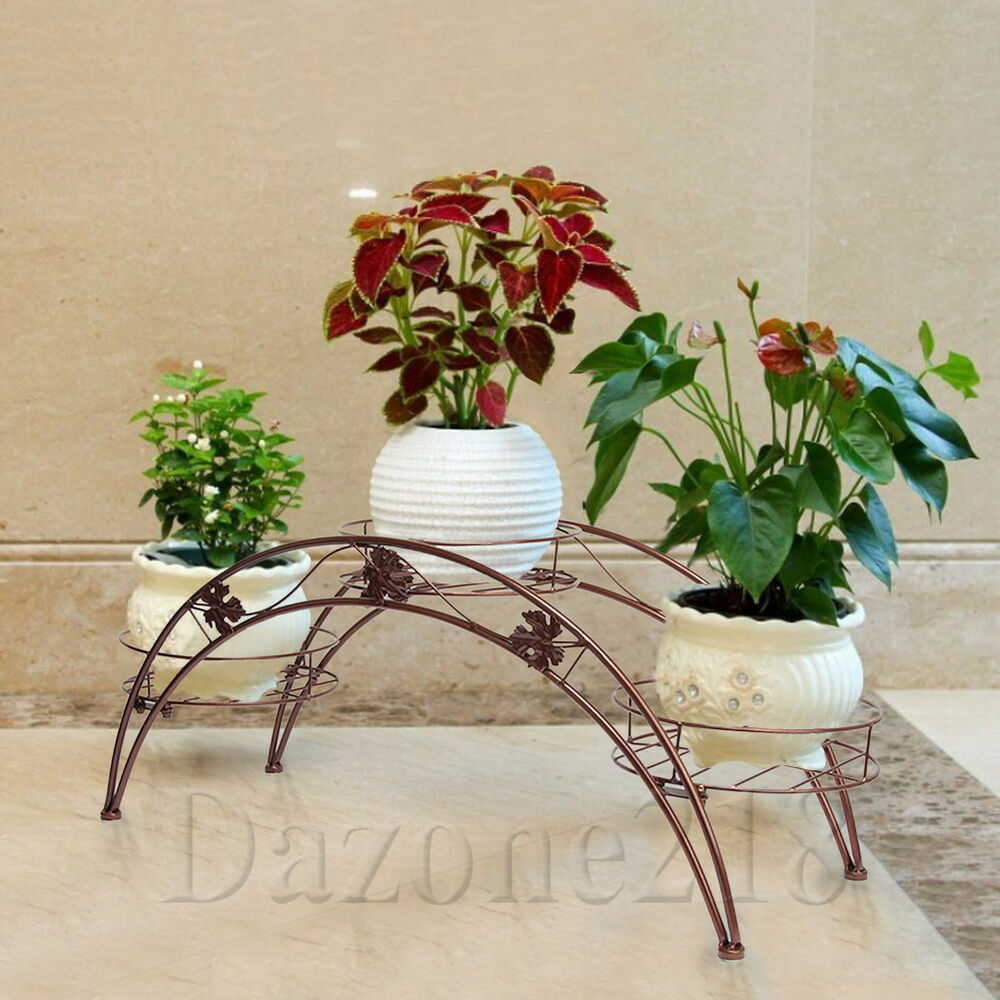 Arch metal potted plant stand wrought iron indoor yard garden decor plant rack ebay - Steel pot plant stands ...