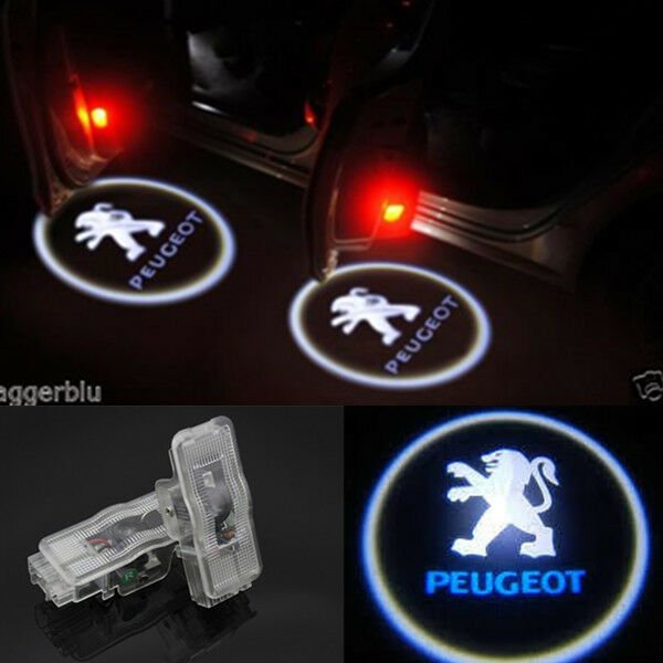 2x LED Logo Ghost Shadow Projector Door Light For Peugeot