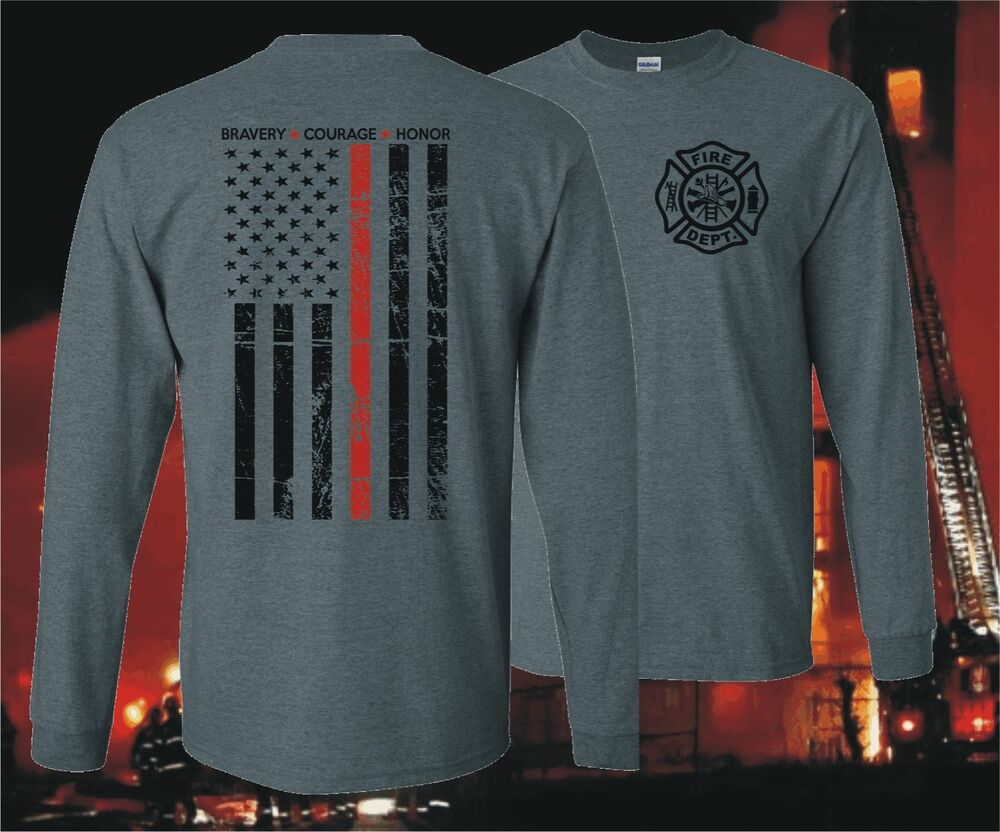Thin red line honor flag long sleeve firefighter fire for Thin long sleeve t shirts