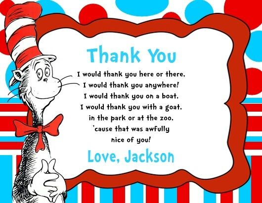 Cat In The Hat Birthday Party Thank You Note Cards