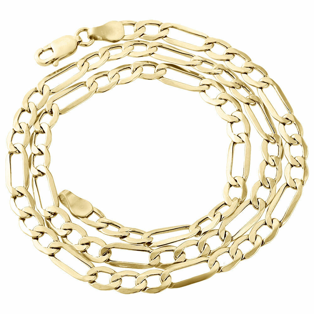 Mens real 10k yellow gold figaro chain 5mm necklace high for What is gold polished jewelry