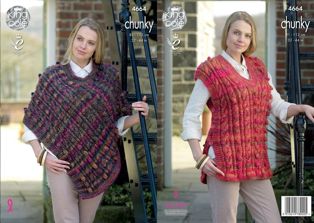 e288774fa604 King Cole 4664 Knitting Pattern Womens Cape and Tabard in King Cole Chunky  5015214780025