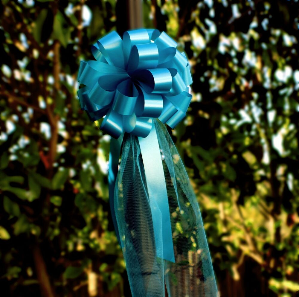 "Church Pew Wedding Decoration Ideas: 6 Turquoise Oasis 8"" Wedding Pew Pull Bows Tulle Tails"