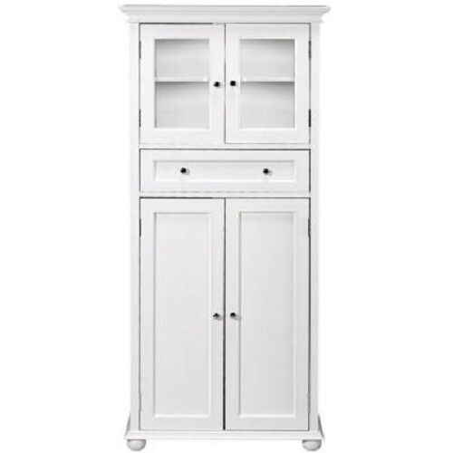 Hampton bay 25 inch w 4 door tall cabinet in white durable - Tall bathroom storage cabinets with doors ...