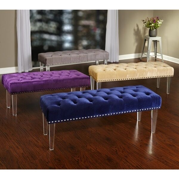 Tufted Foyer Bench : Upholstered bench modern entryway furniture velvet tuffed