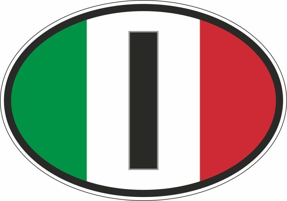 Oval Sticker Flag Country Bumper Decal Car I Italia Italy