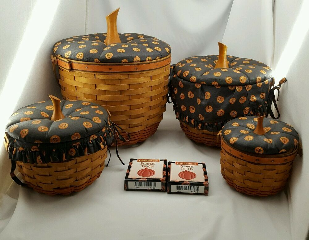 Longaberger Pumpkin Basket Set Lids Halloween Fall Large