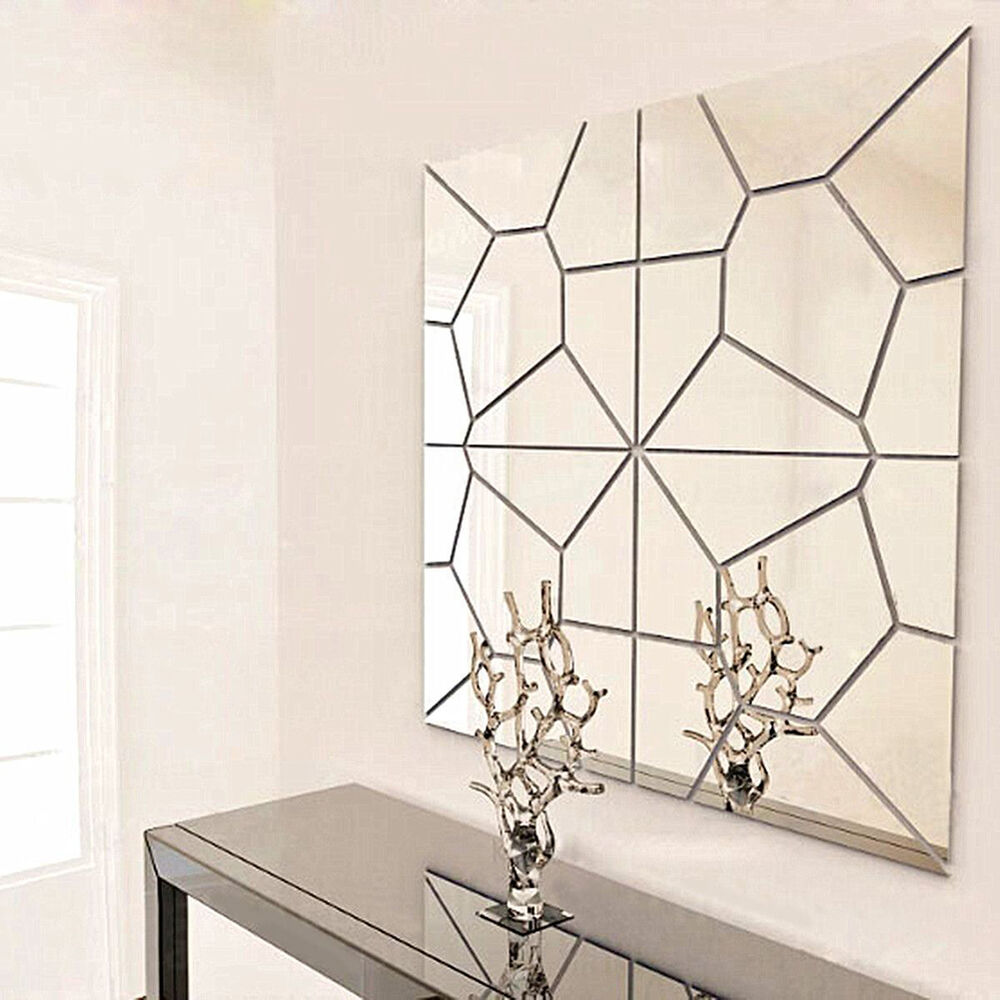 Removable diy 3d acrylic modern mirror decal art mural wall sticker home decor ebay - Wall decor mirror home accents ...