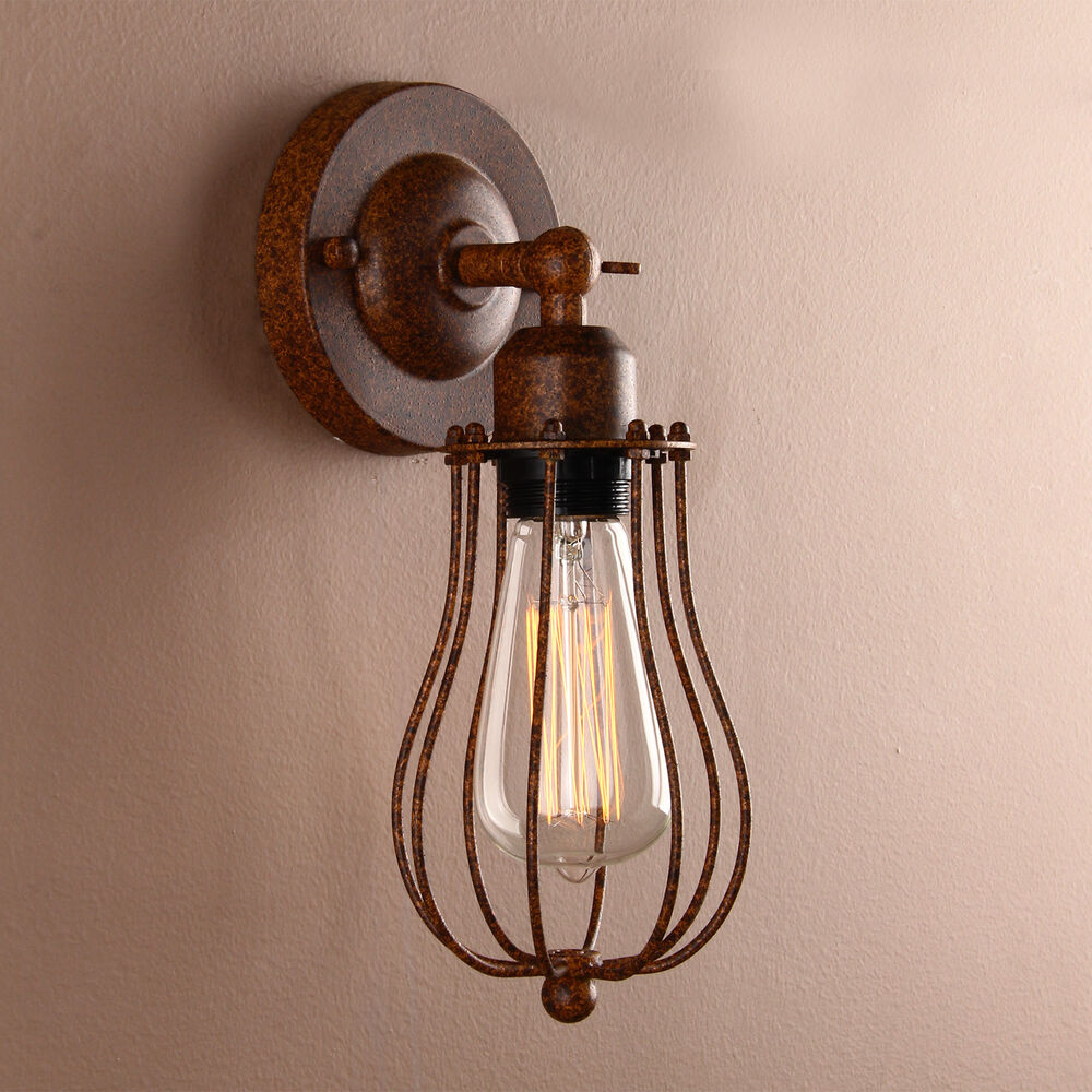VINTAGE ANTIQUE INDUSTRIAL WALL LIGHT RUSTIC WALL SCONCE LAMP IRON CAGE FIXTURE eBay