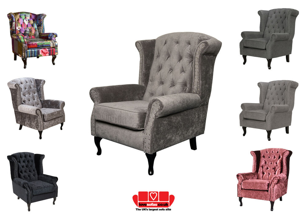 New Wing Back Chair Armchair Chesterfield Grey And Other Colours EBay