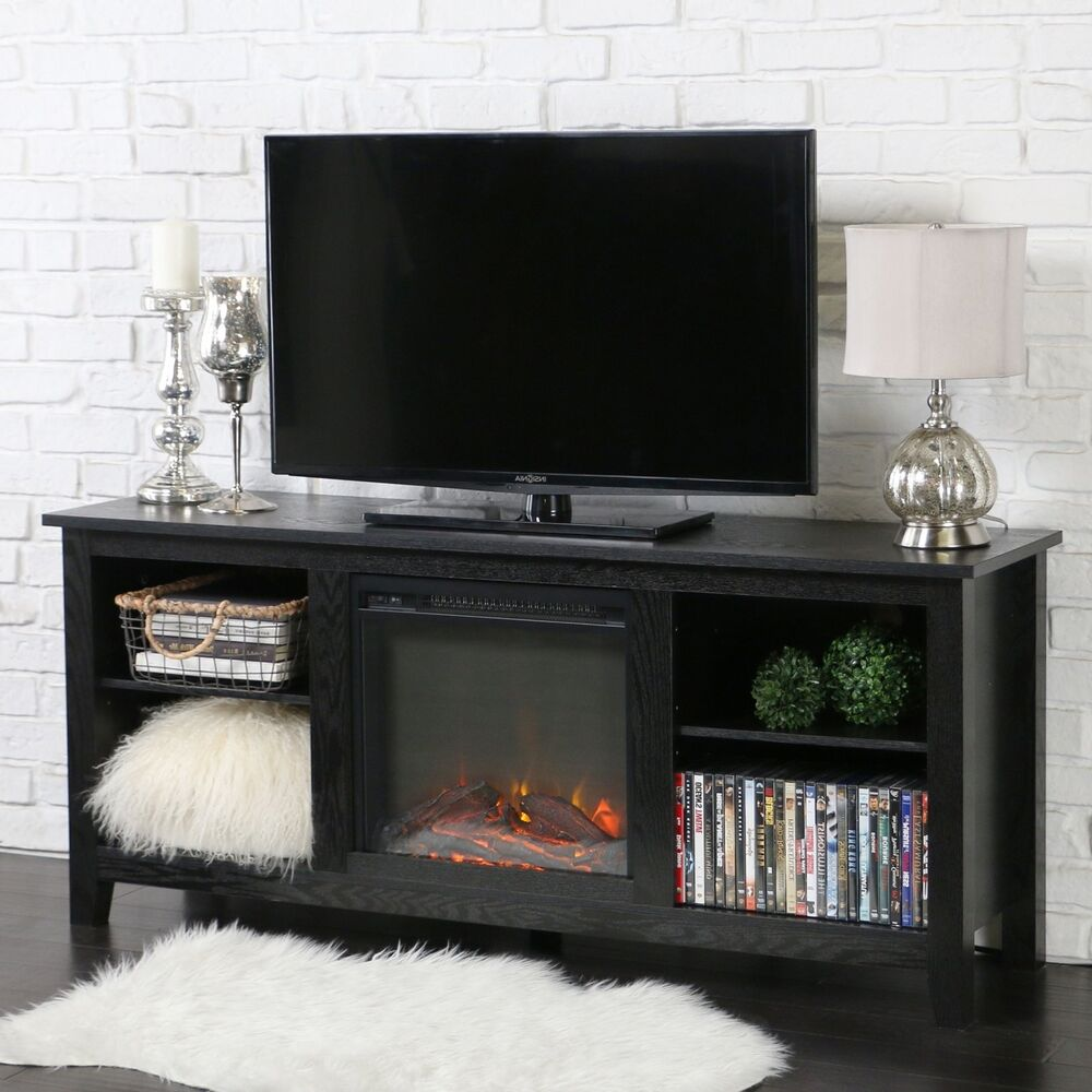 Tv Stand W Electric Fireplace Rustic Wood Entertainment