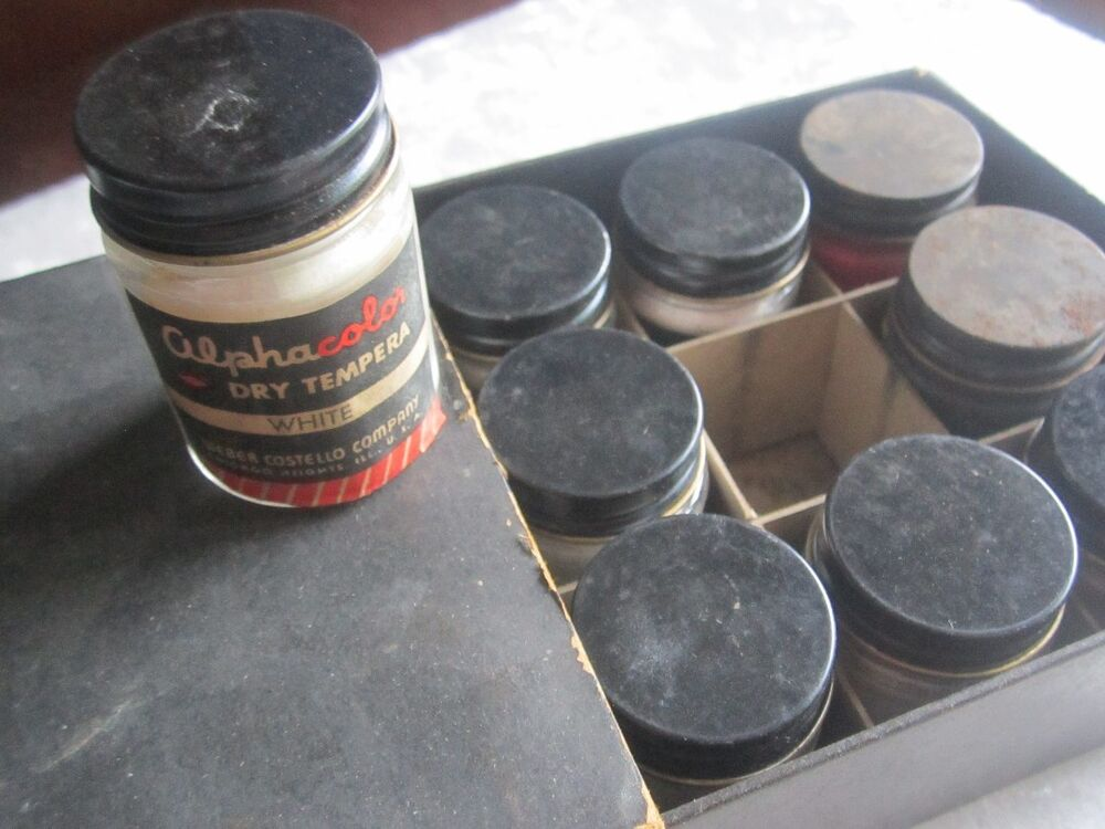 Vintage alphacolor dry tempera paint 1950s 15 full bottles for Bottle painting materials
