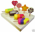NEW 8pc WOODEN ICE BLOCK CREAM LOLLY CANDY DESSERT ROLE PLAY KITCHEN FOOD toy
