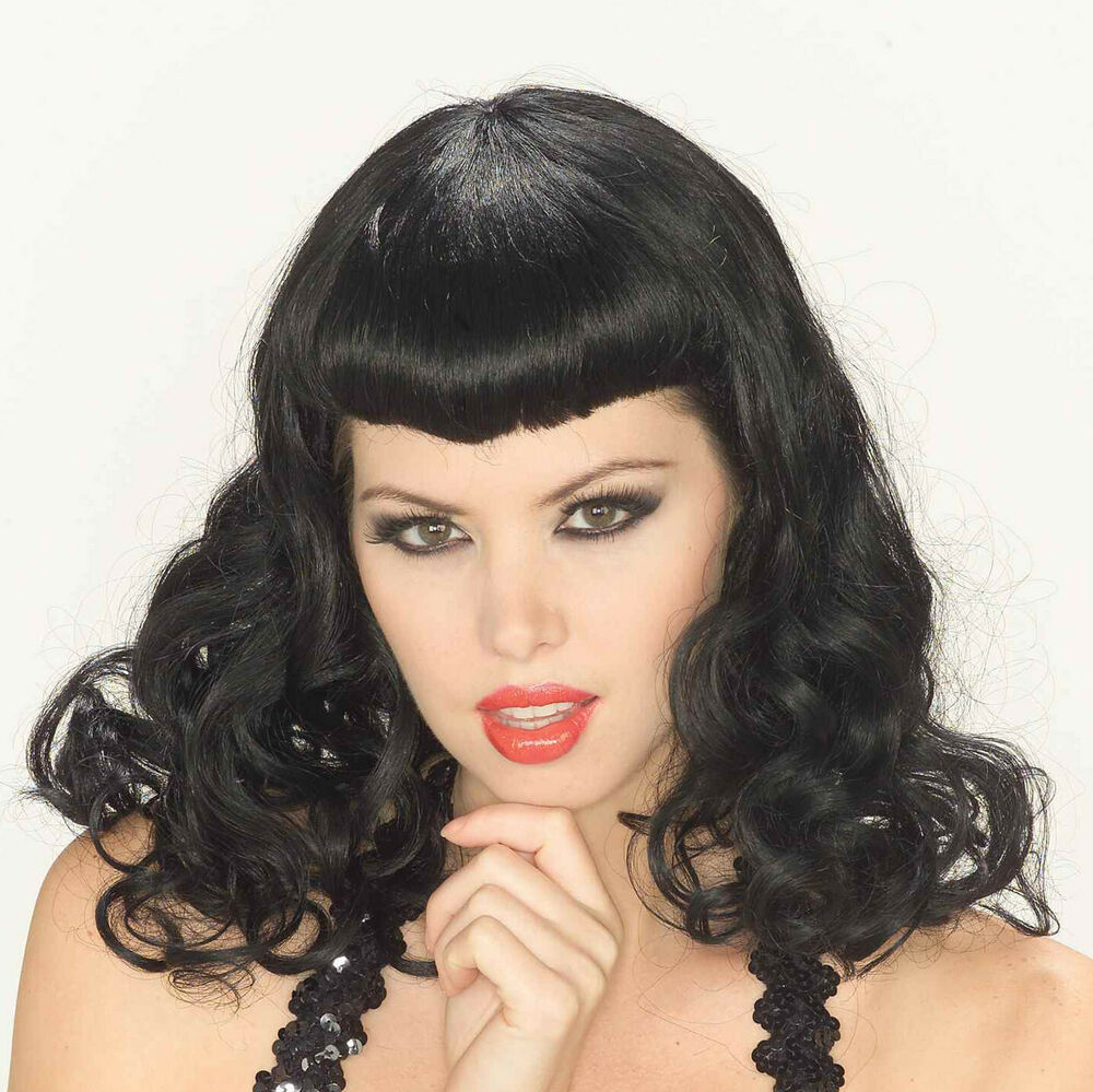 Pin-Up Girl Black Wig Bettie Page Vintage Sexy 50s Classic