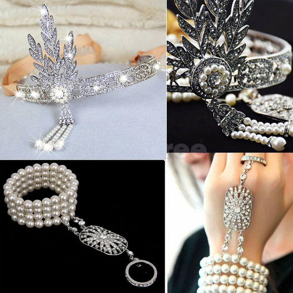 Great Gatsby 20s Headpiece Bracelet Ring Flapper Crystals ...
