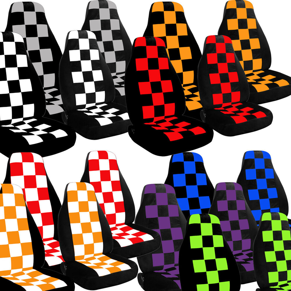 2002 to 2006 mini cooper checkered seat covers airbag friendly choose your color ebay. Black Bedroom Furniture Sets. Home Design Ideas