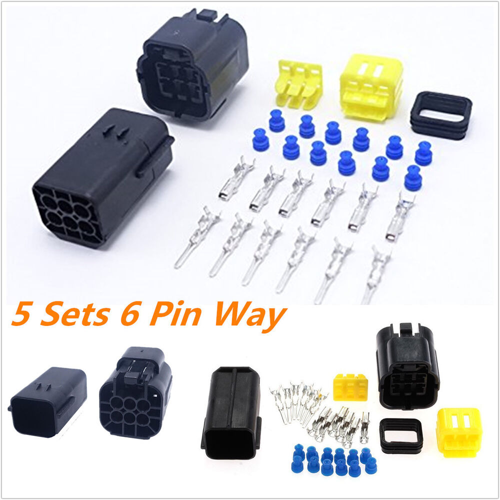 5kit 6 Pin Way Amp Sealed Waterproof Electrical Wire