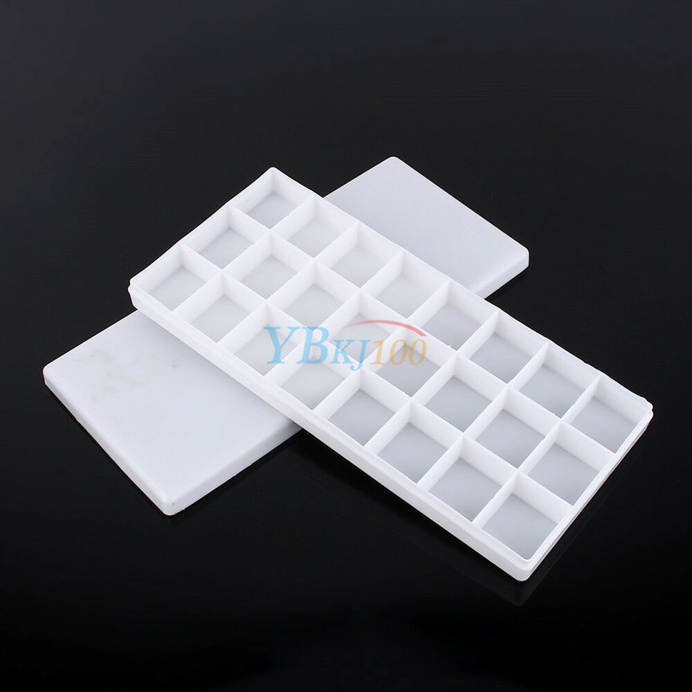 white plastic 24 compartments watercolor paint painting tray mixing palette 957880700875 ebay. Black Bedroom Furniture Sets. Home Design Ideas