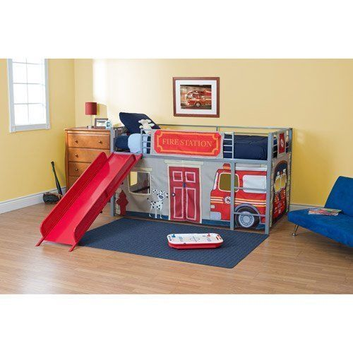 boys twin bunk bed fire department loft bed with red slide silver metal kid room ebay. Black Bedroom Furniture Sets. Home Design Ideas
