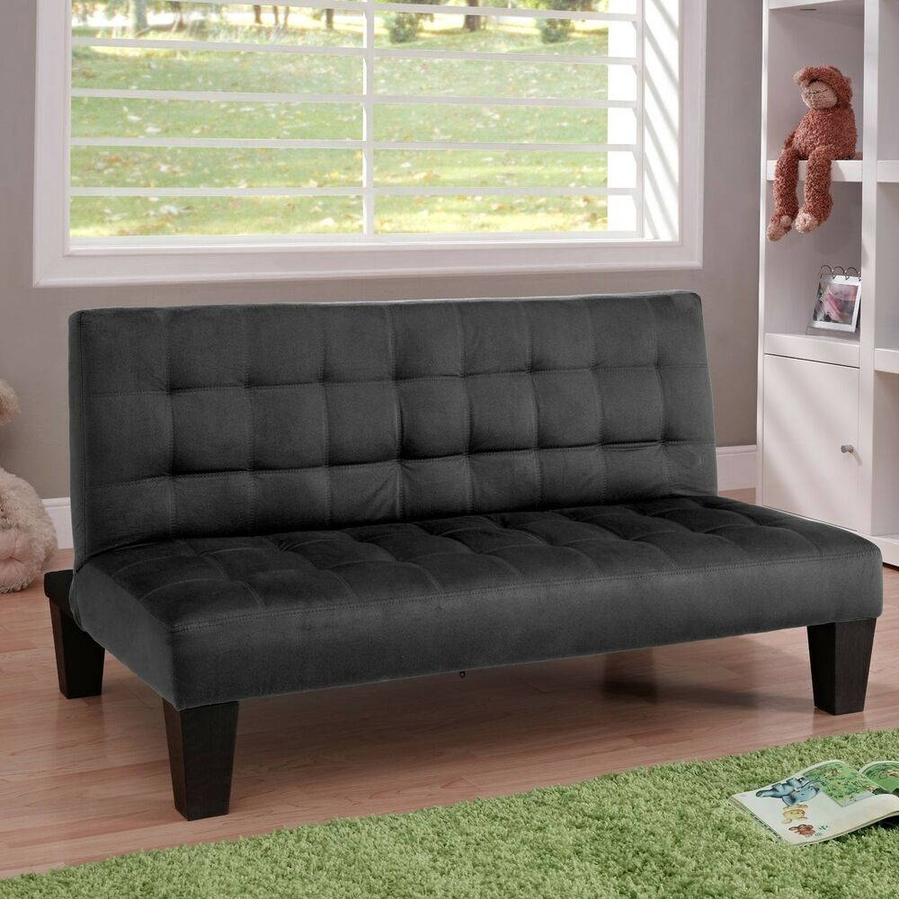 convertible futon lounger fold down mini guest bed sofa sleeper w mattress new ebay. Black Bedroom Furniture Sets. Home Design Ideas