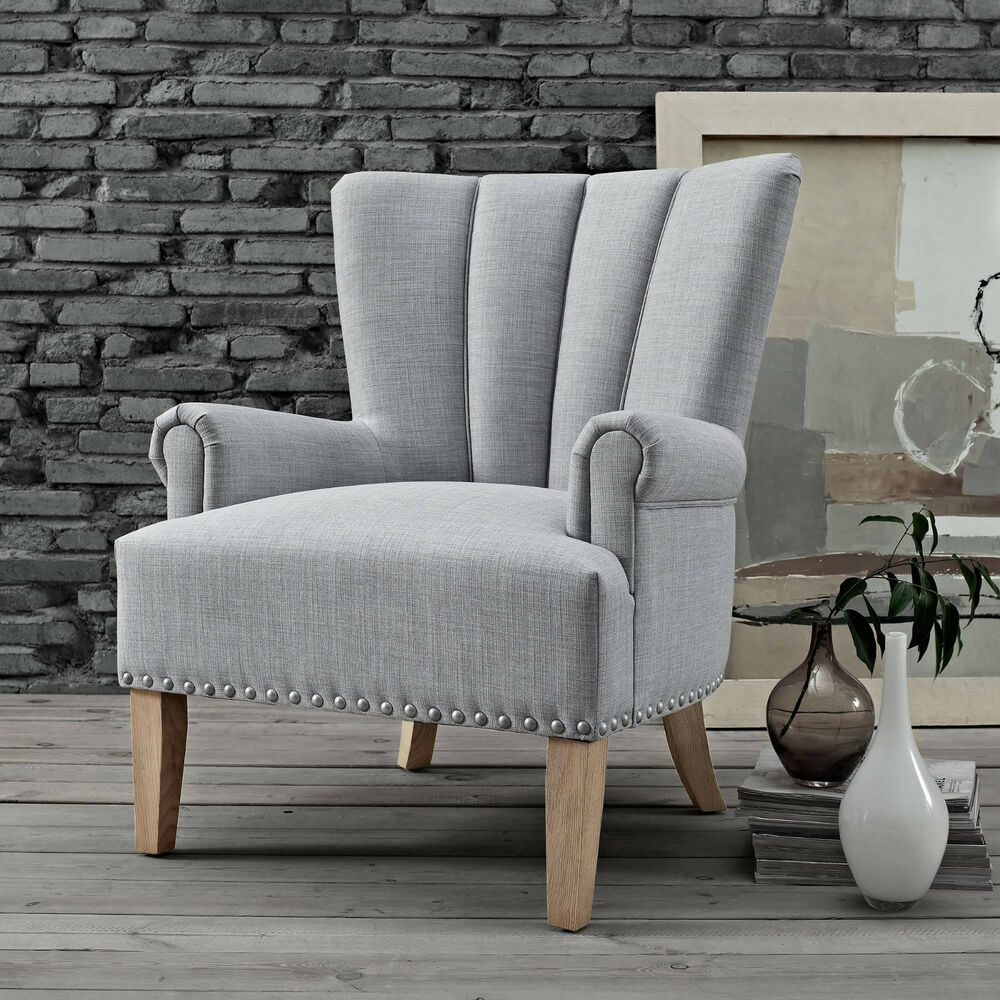 Upholstered Accent Roll Arm Chair Silver Nailheads Wood