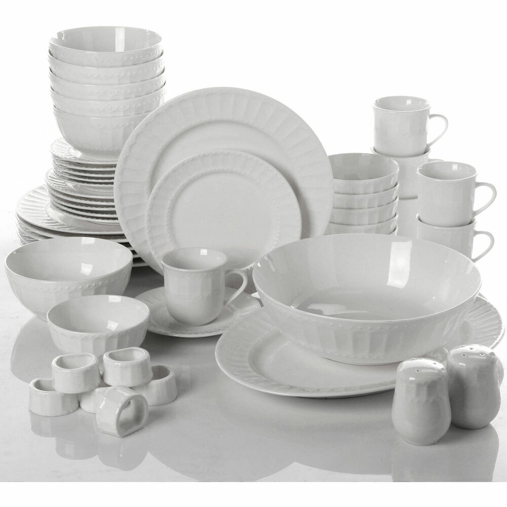 Dinnerware Set 46 Piece Plates Dishes Bowls Kitchen China