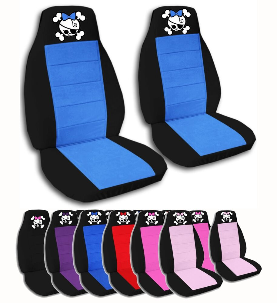 2 front girly pirate skull velvet seat covers with 9 color options ebay. Black Bedroom Furniture Sets. Home Design Ideas