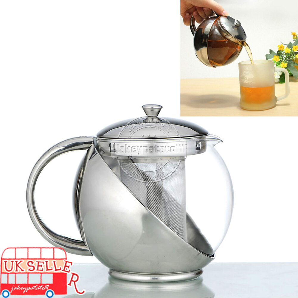 Modern Sylish Stainless Steel & Glass Teapot WITH Loose ...