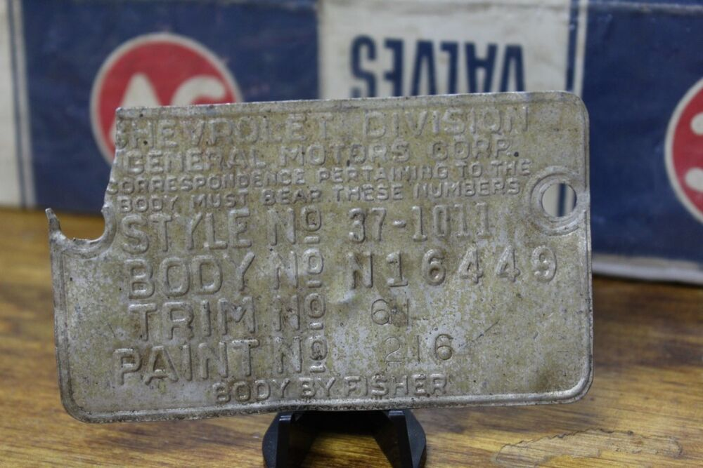 Gm chevrolet division vehicle motor id identification tag for Motor vehicle id price
