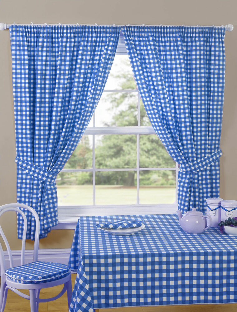 GINGHAM CHECK BLUE WHITE KITCHEN CURTAINS PRICED TO CLEAR ...