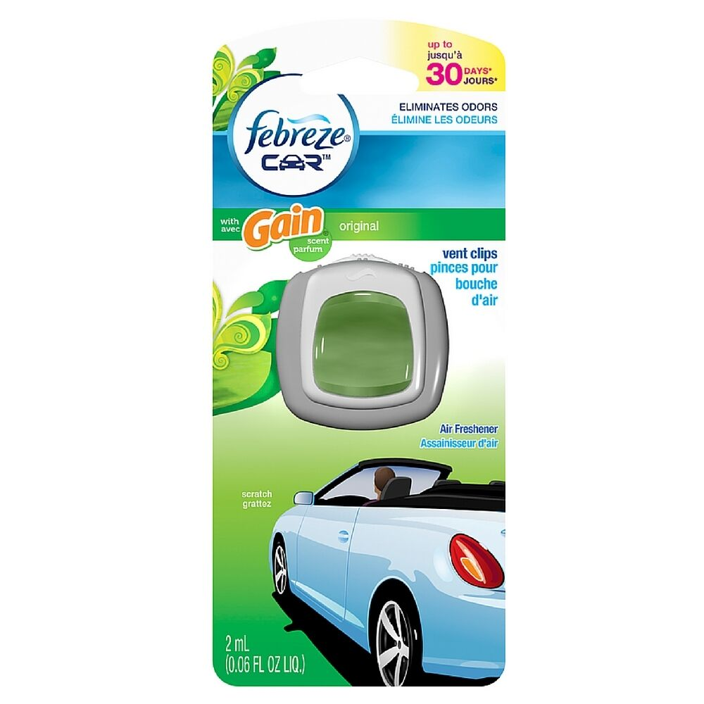 Febreze Car Vent Clips Air Freshener Odor Eliminator New: Febreze Car Vent Clip Air Freshener, Gain Original Scent 1