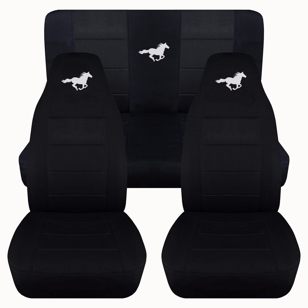 front and rear solid black horse seat covers fits 1994 2004 ford mustang ebay. Black Bedroom Furniture Sets. Home Design Ideas