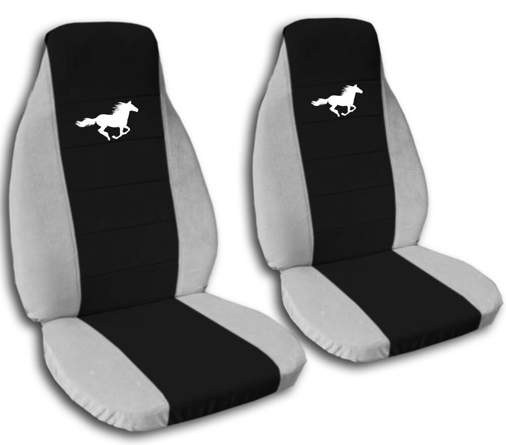 2008 2012 ford mustang white horse seat covers black center coupe convertible ebay. Black Bedroom Furniture Sets. Home Design Ideas