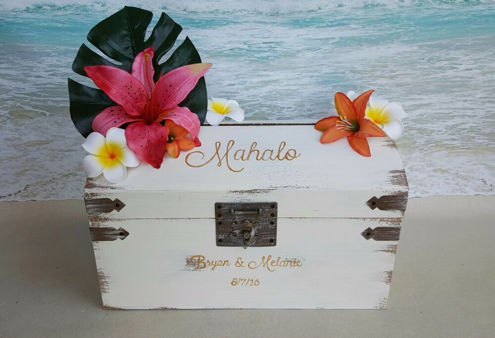 Hawaiian Wedding Gift Ideas: Custom Tropical Card Box -AnyColor- Wedding Money Cardbox