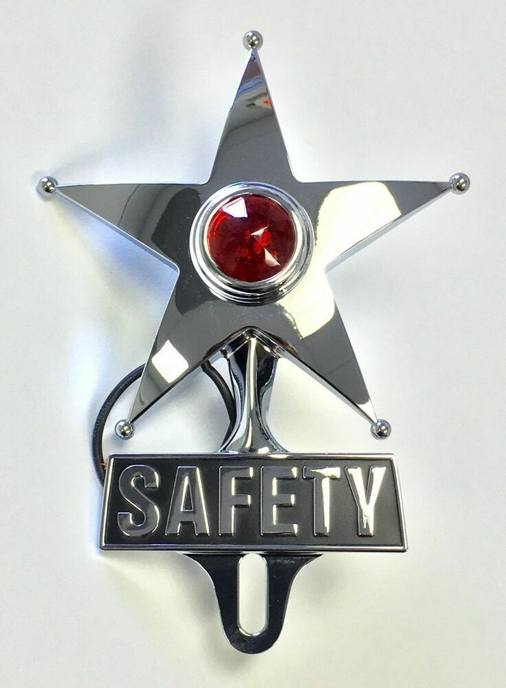 Hot Rod Red Jewel Lighted Chrome Safety Star Vintage Style