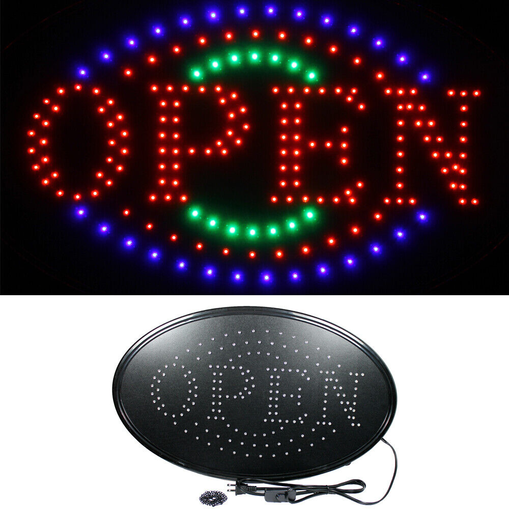 large 23 x 14 bright led neon open business sign with motion animation oval ebay. Black Bedroom Furniture Sets. Home Design Ideas