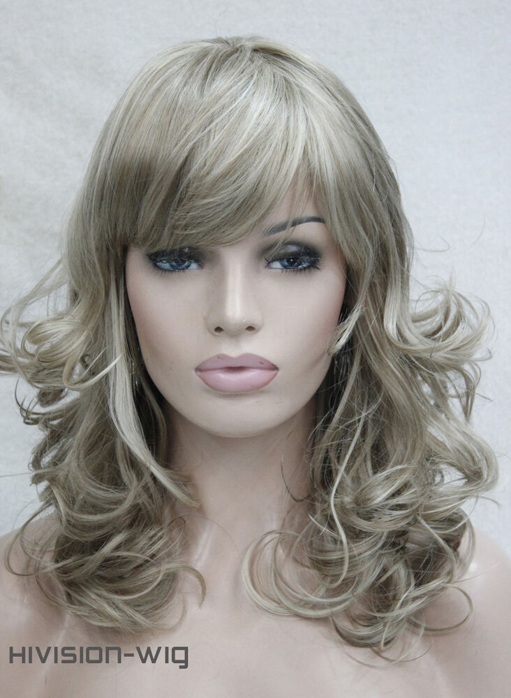 Long Mix Blonde Wavy Wig Curly Natural Hair Cosplay Wigs