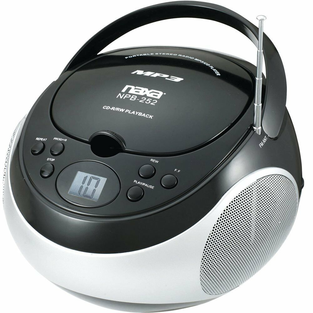 portable naxa mp3 cd player with am fm stereo radio black model npb 252blk new ebay. Black Bedroom Furniture Sets. Home Design Ideas