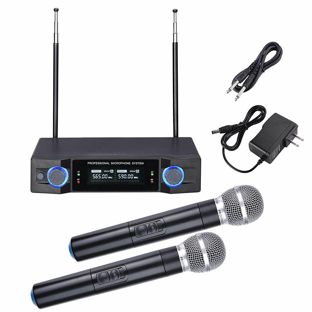 professional dual channel uhf wireless microphone system w 2 handheld mics ebay. Black Bedroom Furniture Sets. Home Design Ideas