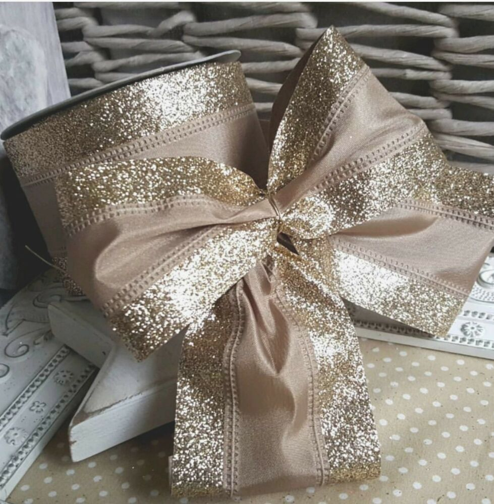 Wired Champagne Gold Vintage Lace Christmas Ribbon. Cake