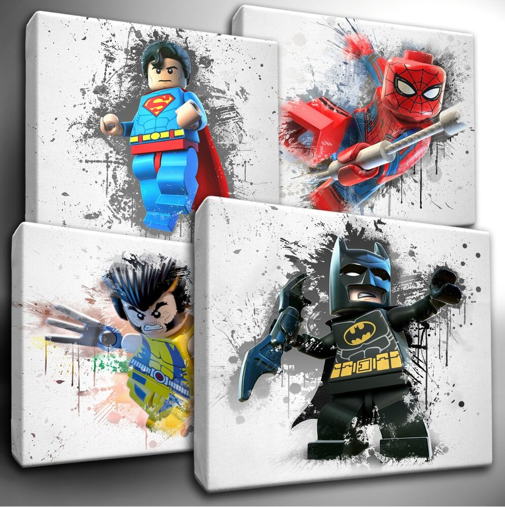 choose your lego marvel dc characters paint splatter canvas wall art picture ebay. Black Bedroom Furniture Sets. Home Design Ideas