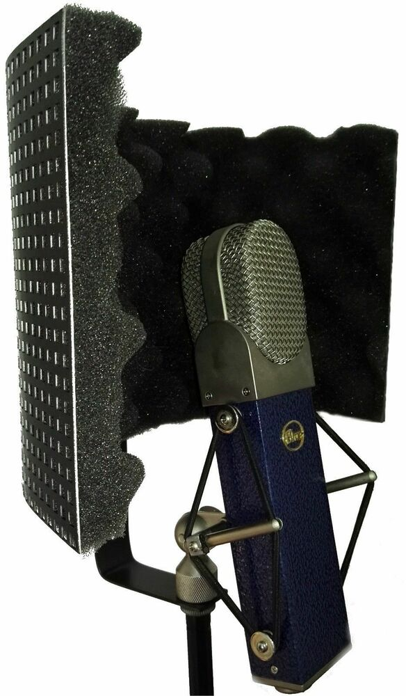 black mini microphone screen reflection filter shield portable vocal booth ebay. Black Bedroom Furniture Sets. Home Design Ideas